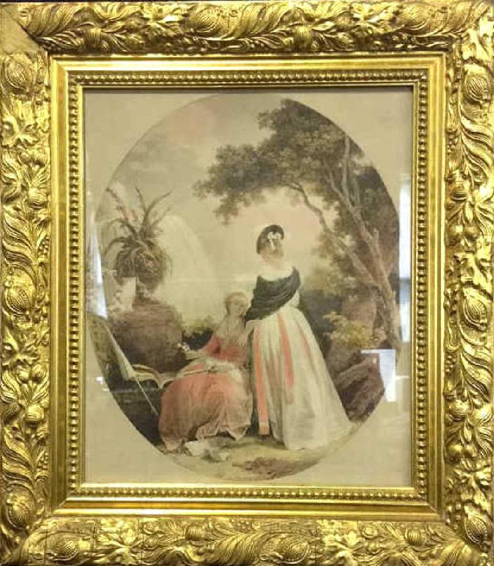 Ornately Framed Artwork Of 2 Female Figures