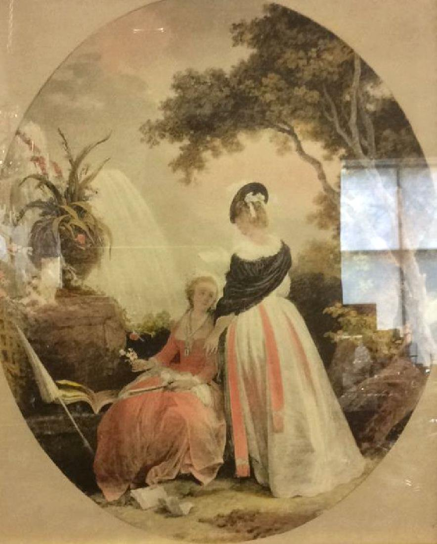 Ornately Framed Artwork Of 2 Female Figures - 3