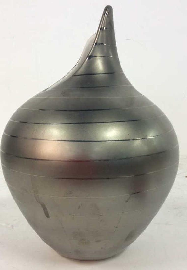 Contemporary Pewter silver Tone Ceramic Vase - 2