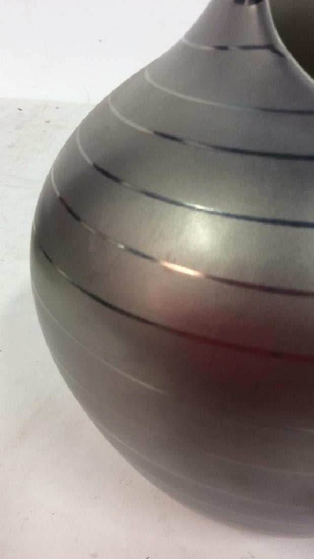 Contemporary Pewter silver Tone Ceramic Vase - 7