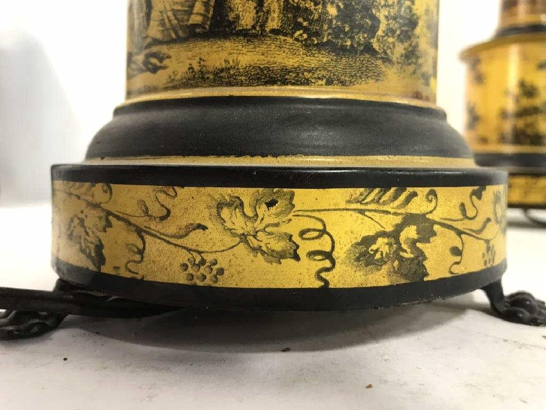 Pair Yellow & Black Toned Footed Metal Lamps - 6