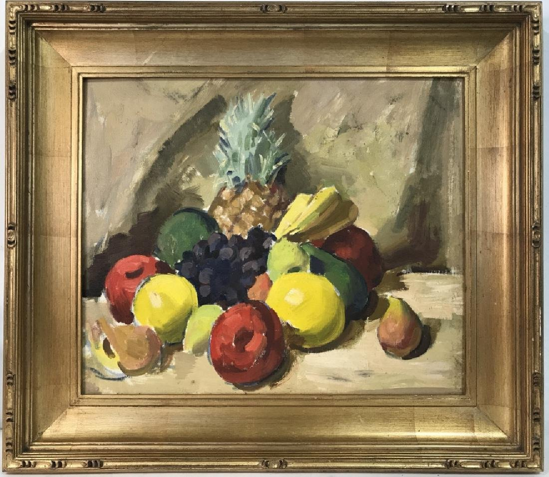 Framed Painting Of Fruit On Canvas