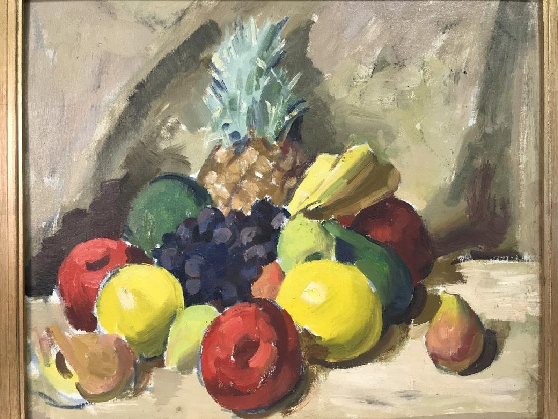 Framed Painting Of Fruit On Canvas - 2