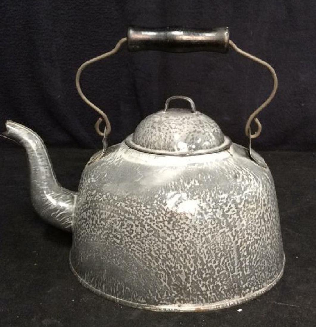 Large Vintage Enamelware Tea Pot
