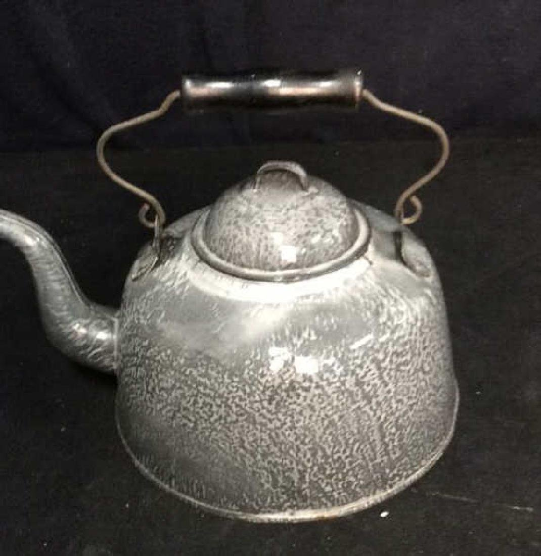 Large Vintage Enamelware Tea Pot - 2