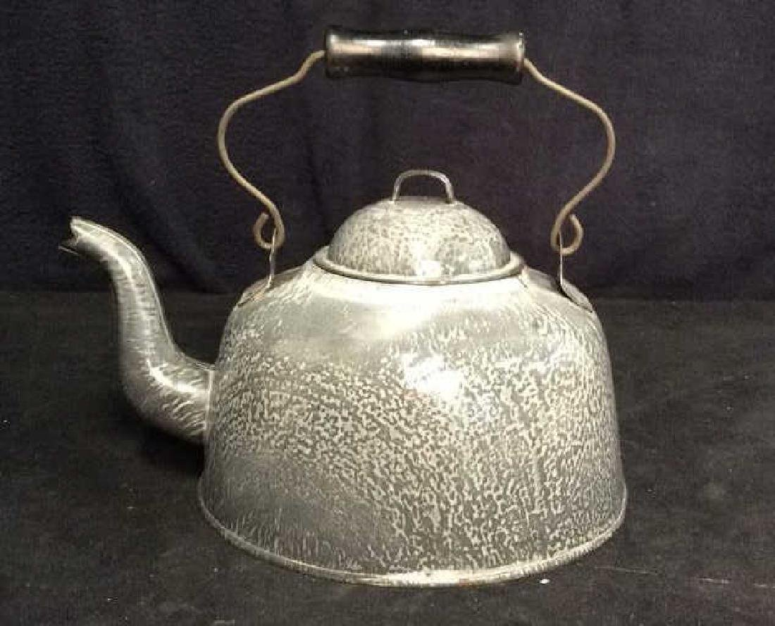Large Vintage Enamelware Tea Pot - 3