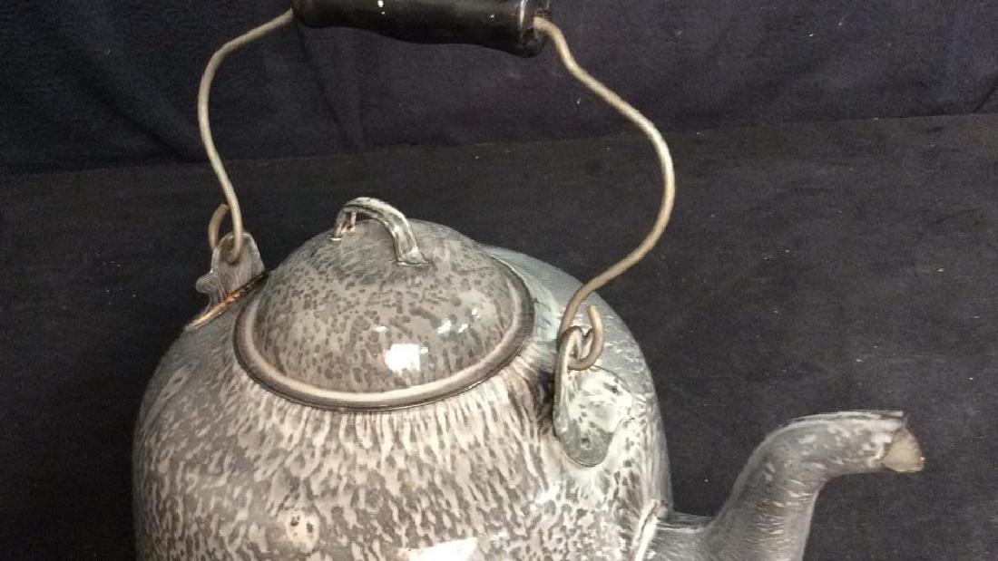 Large Vintage Enamelware Tea Pot - 7