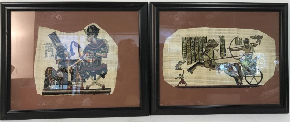 Lot 2 Egyptian Style Paintings On Paper - 2