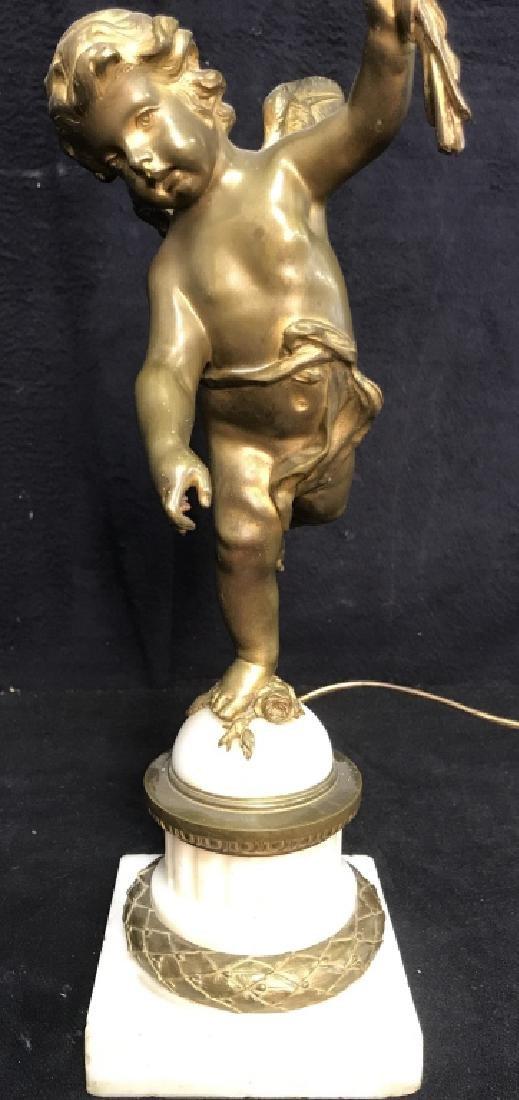Brass & Poss Marble Cherub Lamp - 3