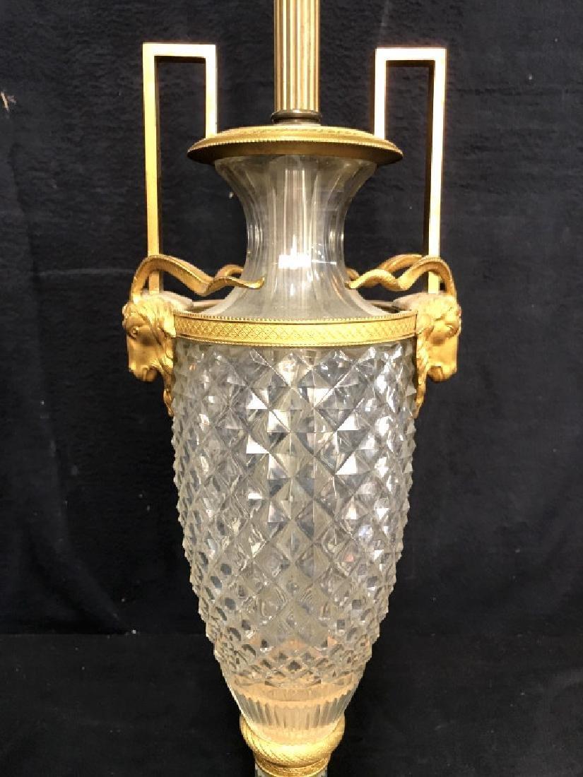 Vintage Cut Crystal & Brass Ram Head Lamp