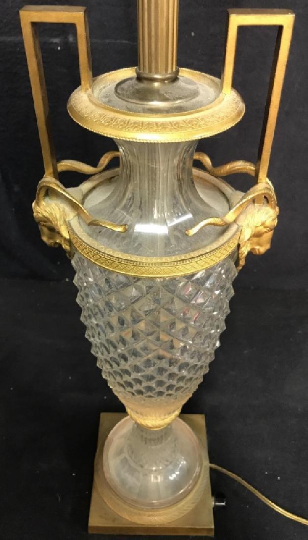 Vintage Cut Crystal & Brass Ram Head Lamp - 7