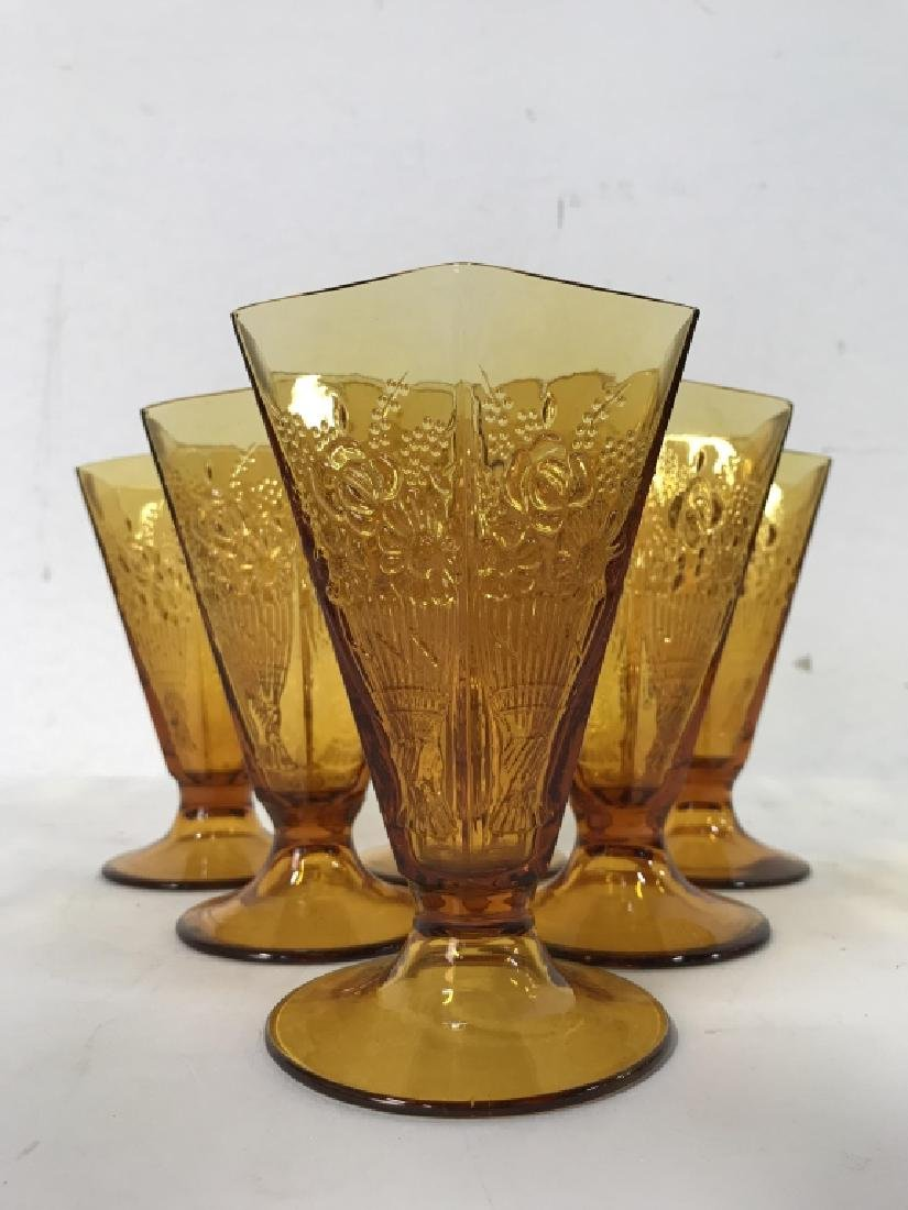 Lot 19 Amber Toned Glass Ice Cream Cups - 3