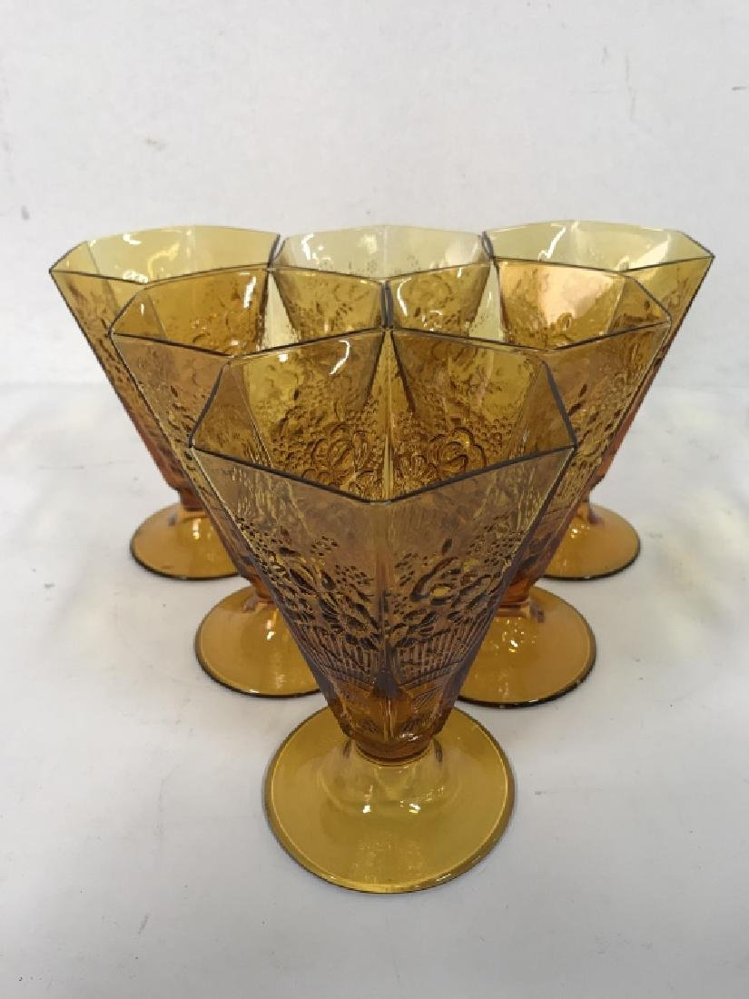 Lot 19 Amber Toned Glass Ice Cream Cups - 4