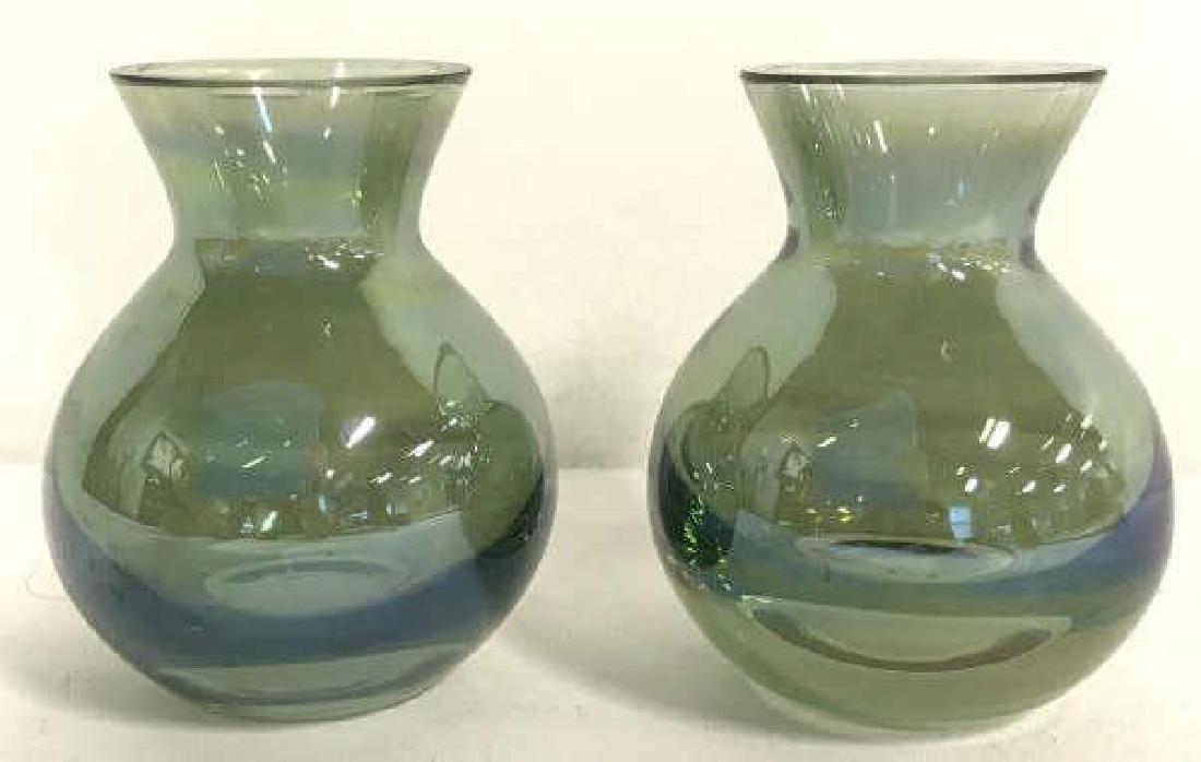 Pair Vintage Green Art Glass Vases