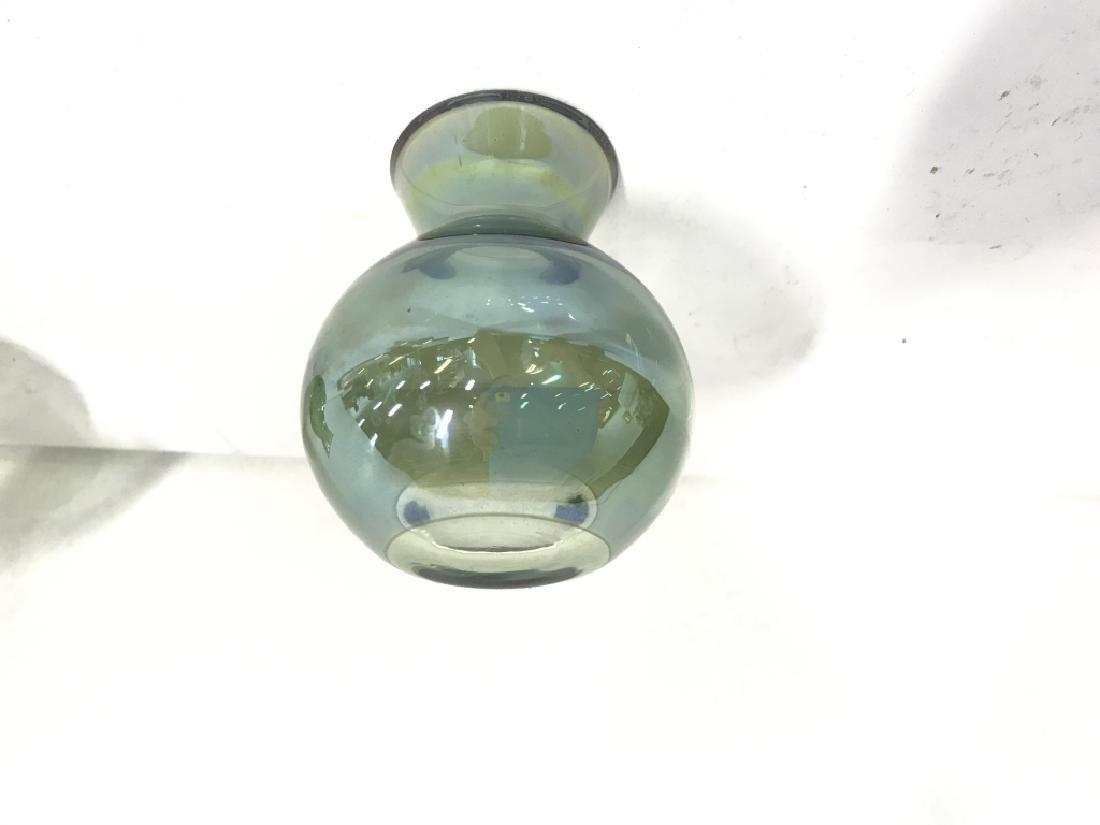 Pair Vintage Green Art Glass Vases - 4