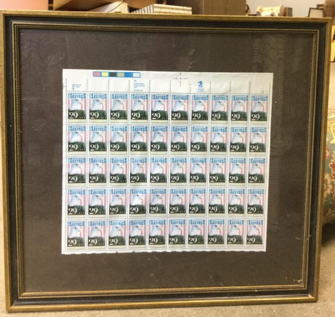 Framed US Savings Bonds 50th Anniversary Stamps