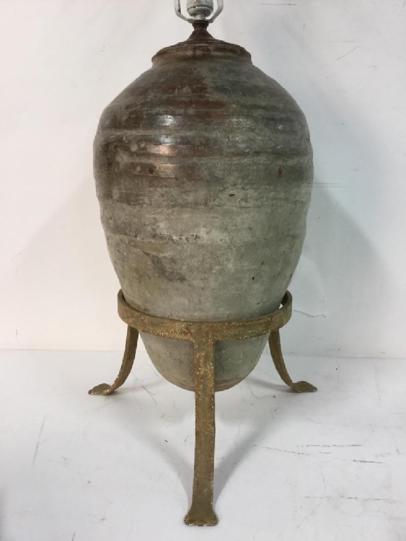 19th C Mediterranean Terracotta Jar Lamp