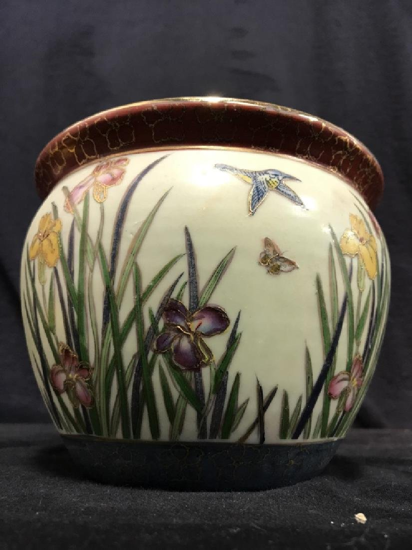 Intricately Detailed Asian Painted Planter - 2