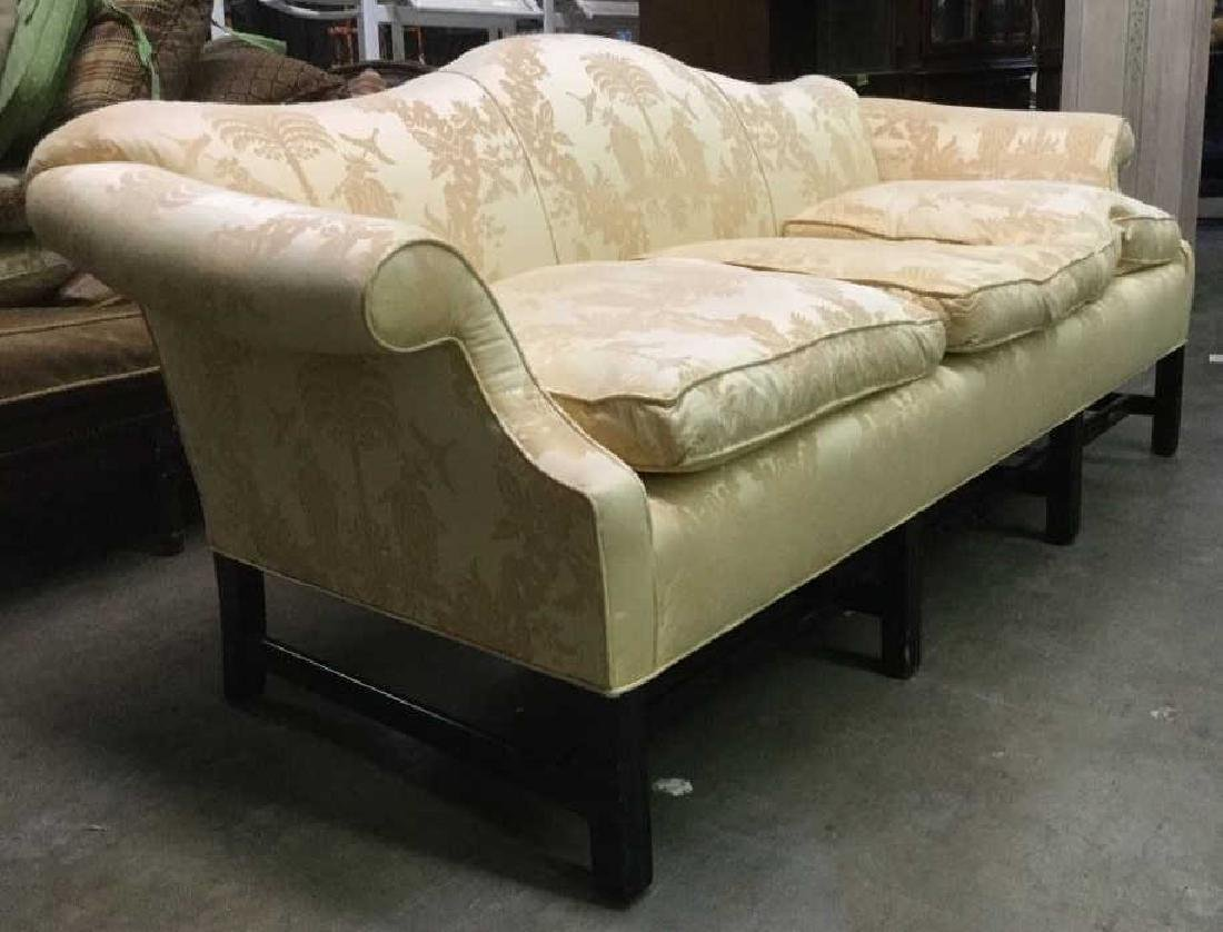 Gold Toned Camel Back Chippendale Style Sofa - 2
