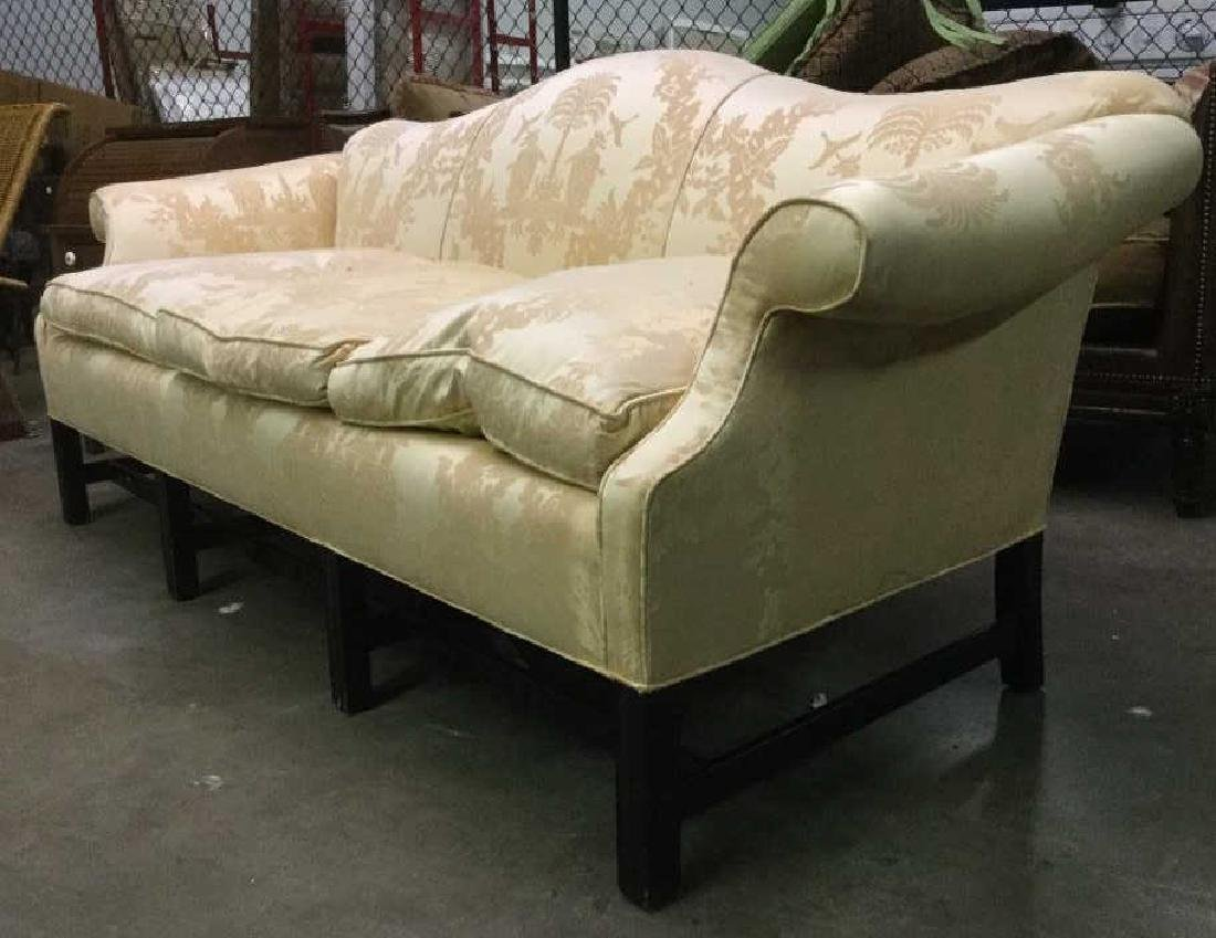 Gold Toned Camel Back Chippendale Style Sofa - 3