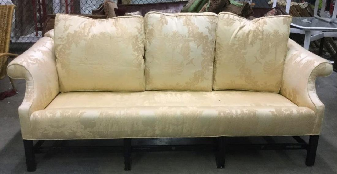 Gold Toned Camel Back Chippendale Style Sofa - 8
