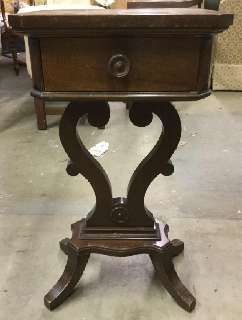Vintage Wooden Pedestal Table W Drawer - 2