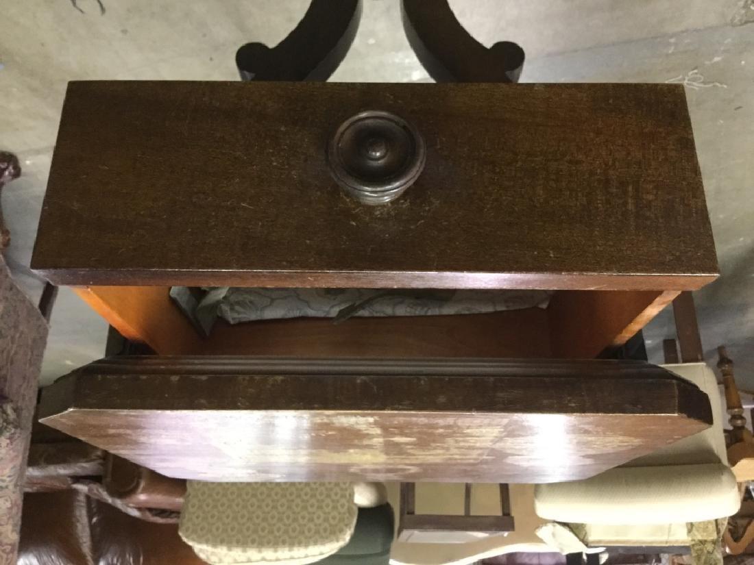 Vintage Wooden Pedestal Table W Drawer - 4