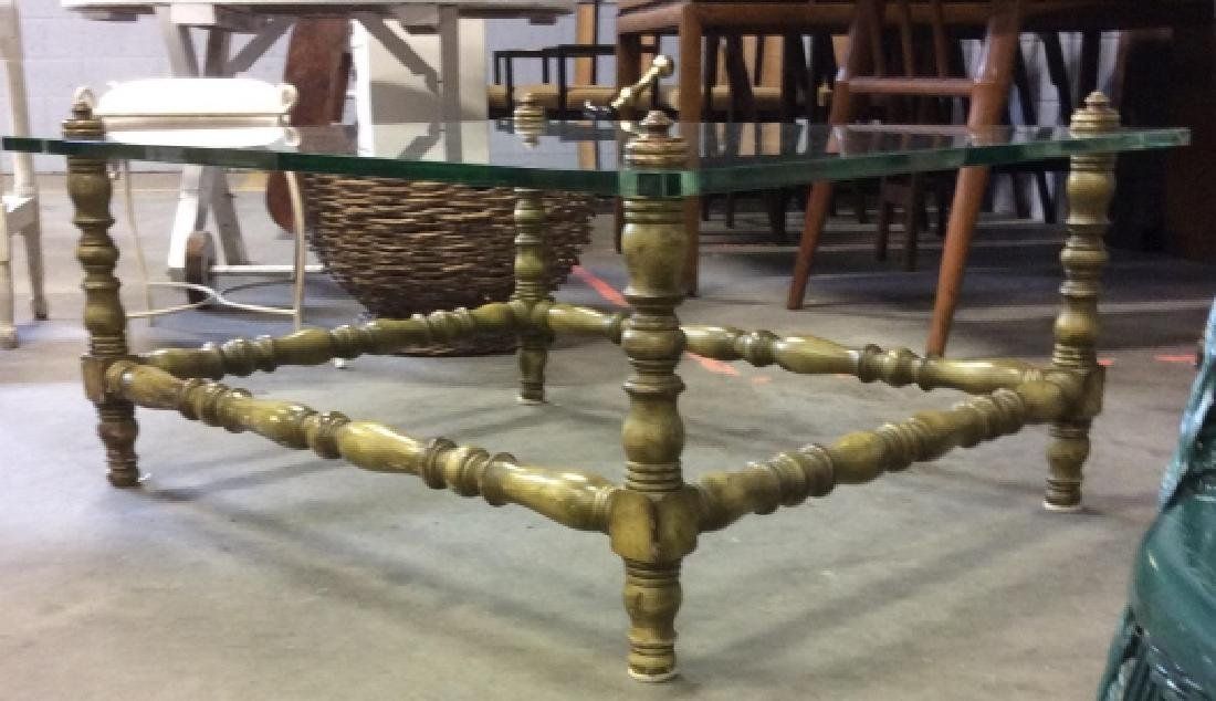 Glass Top Painted Wood Coffee Table - 3