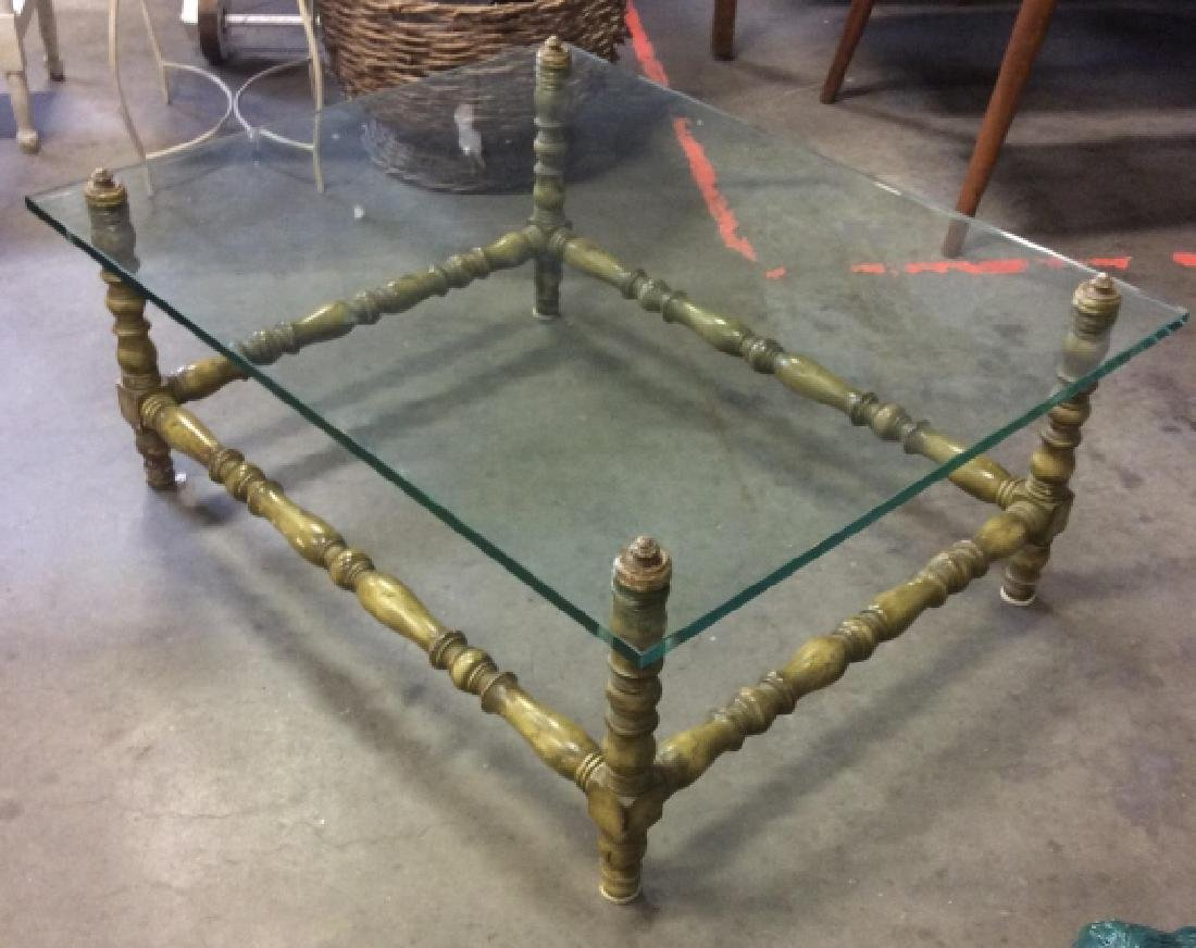 Glass Top Painted Wood Coffee Table - 4