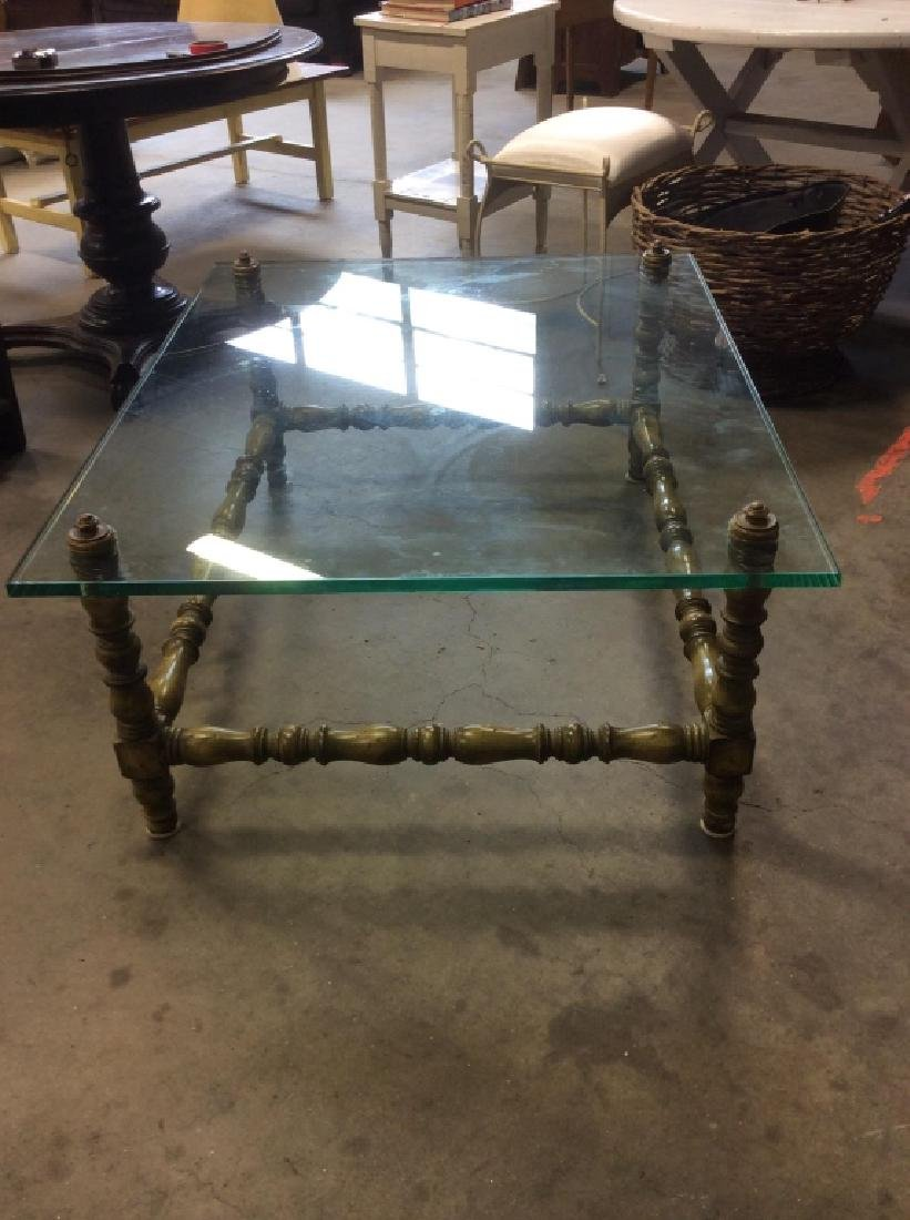 Glass Top Painted Wood Coffee Table - 8