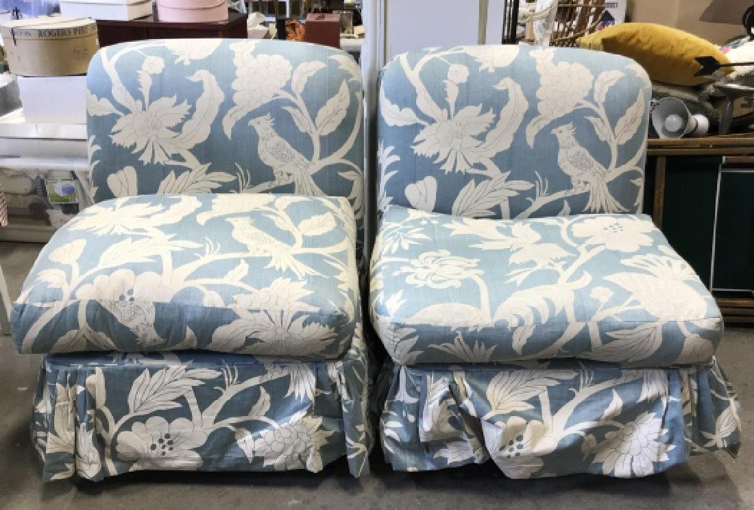 Pair  2 Upholstered Chairs Casters