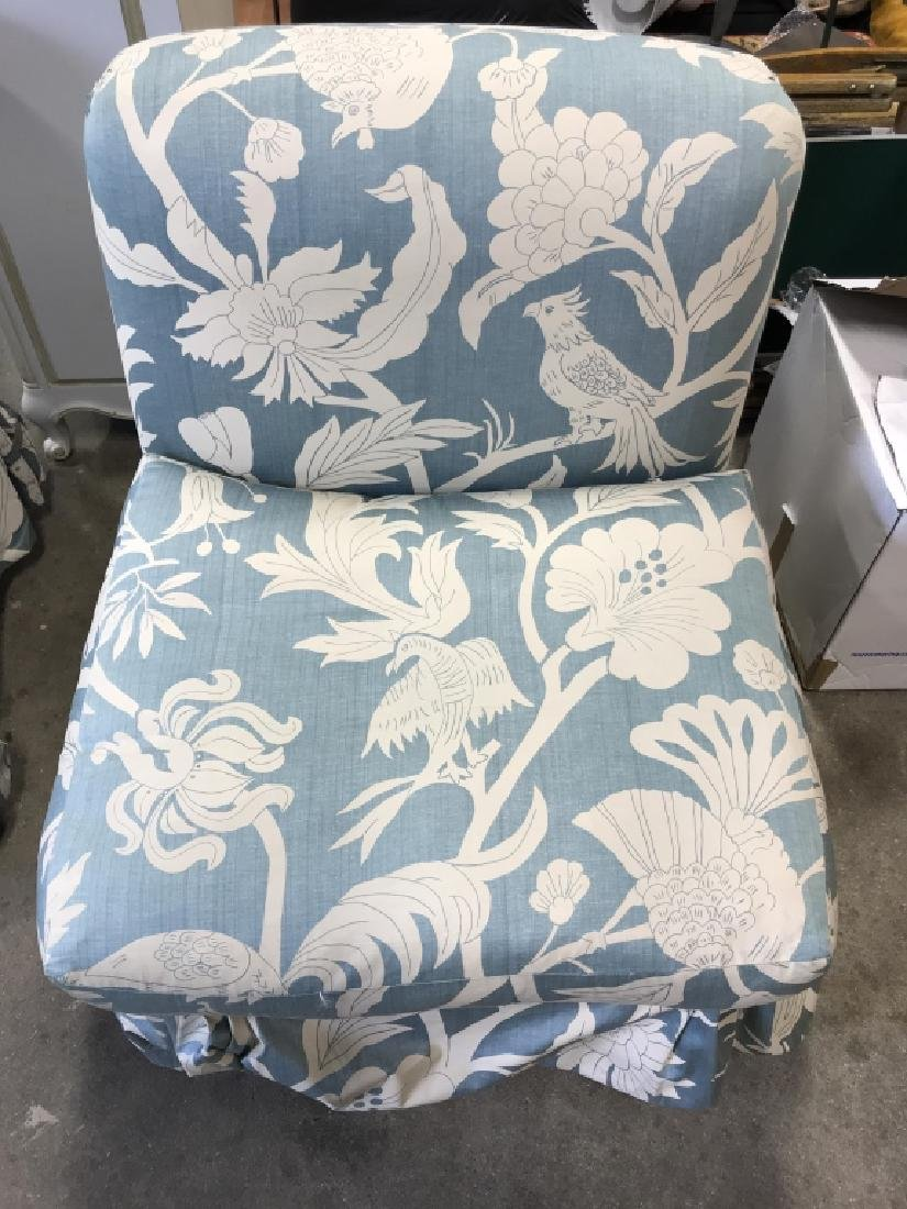 Pair  2 Upholstered Chairs Casters - 3