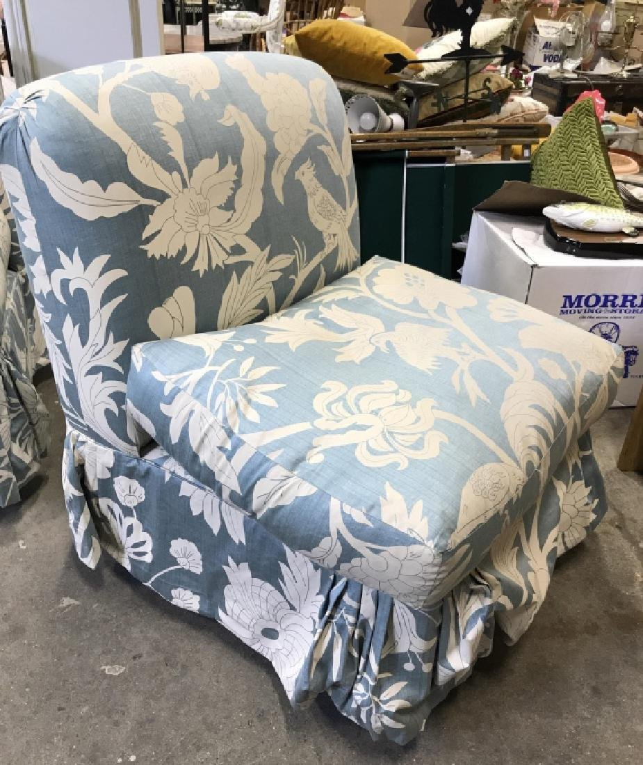 Pair  2 Upholstered Chairs Casters - 4