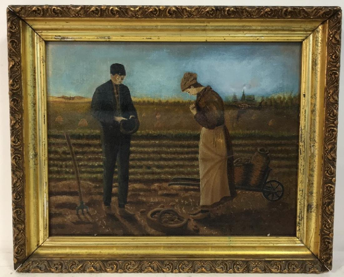 Farmers w Crops Antique Oil Painting on Canvas - 2
