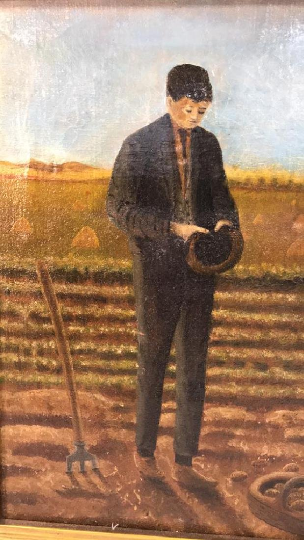 Farmers w Crops Antique Oil Painting on Canvas - 4