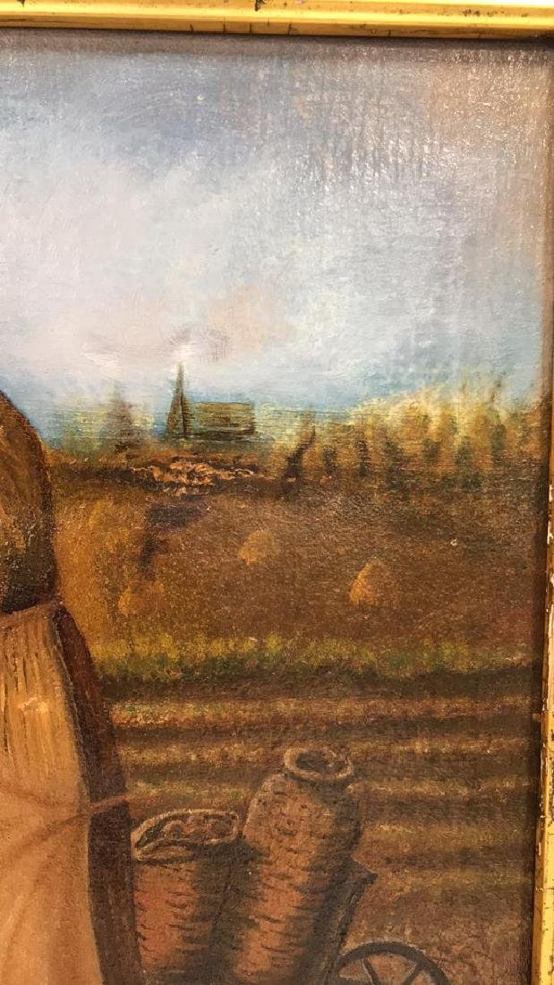 Farmers w Crops Antique Oil Painting on Canvas - 6