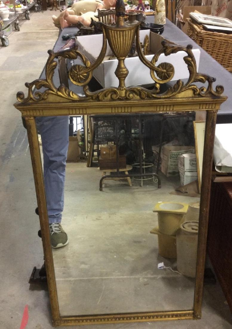 Gold Toned Floral Wooden Wall Mirror