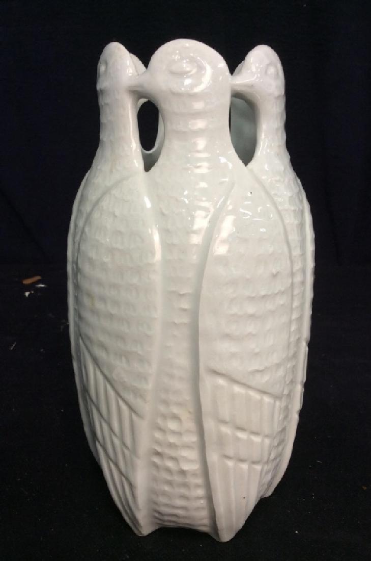 Vintage White Porcelain Bird Form Vase
