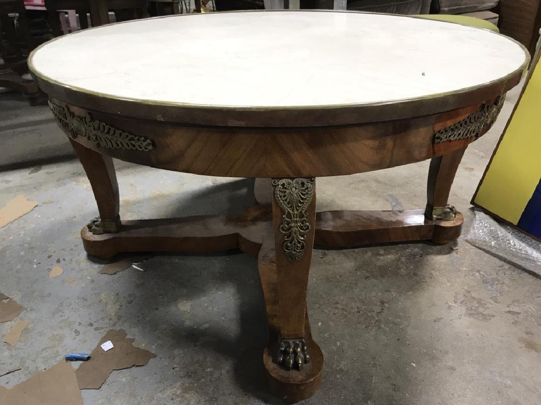 Vintage Ormolu w  Marbletop Round Coffee Table - 9