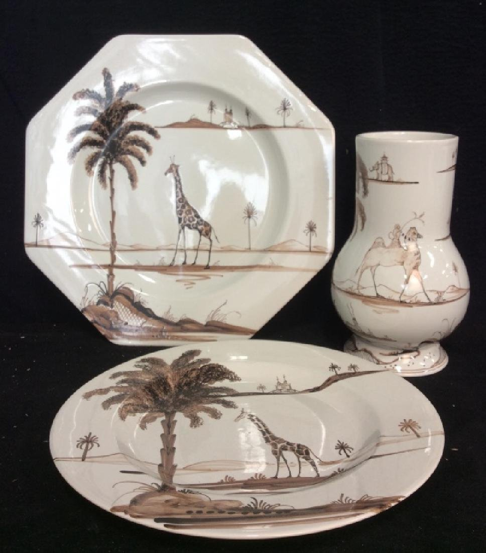 3 Pieces Hand Painted English Pottery, Oxford Eng,