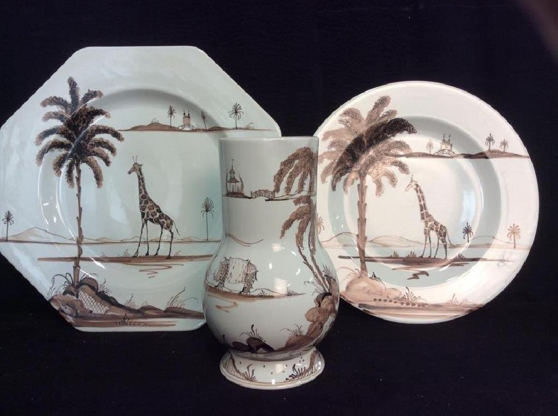 3 Pieces Hand Painted English Pottery, Oxford Eng, - 2