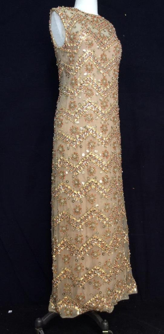 SAKS Embroidered Beaded Evening Gown