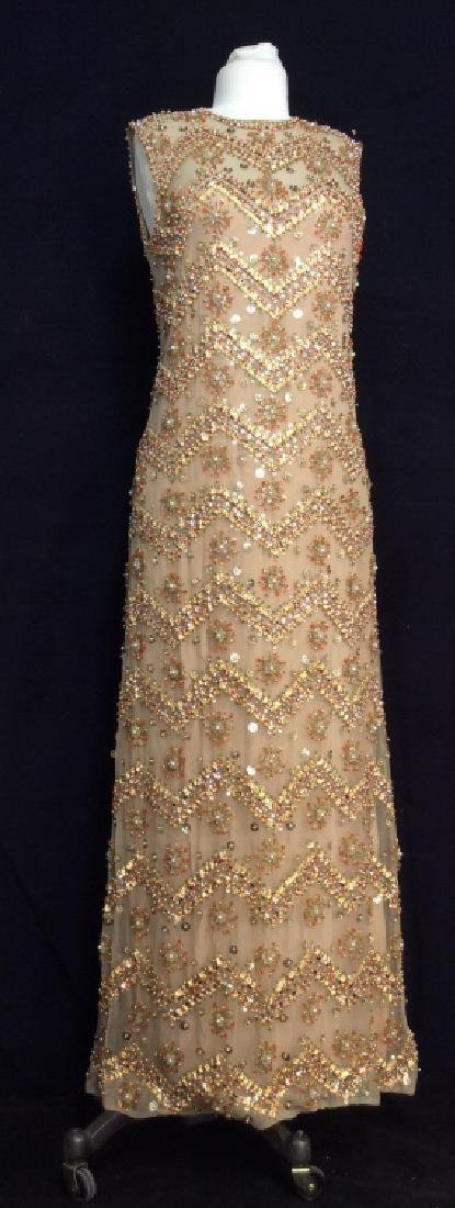 SAKS Embroidered Beaded Evening Gown - 2