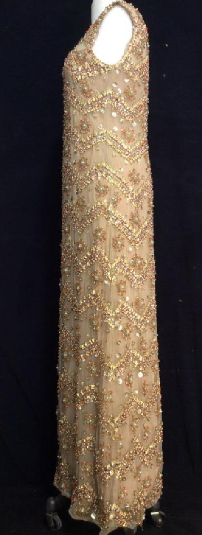 SAKS Embroidered Beaded Evening Gown - 3