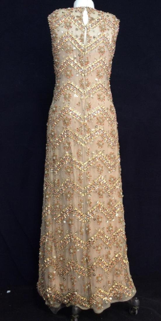 SAKS Embroidered Beaded Evening Gown - 4