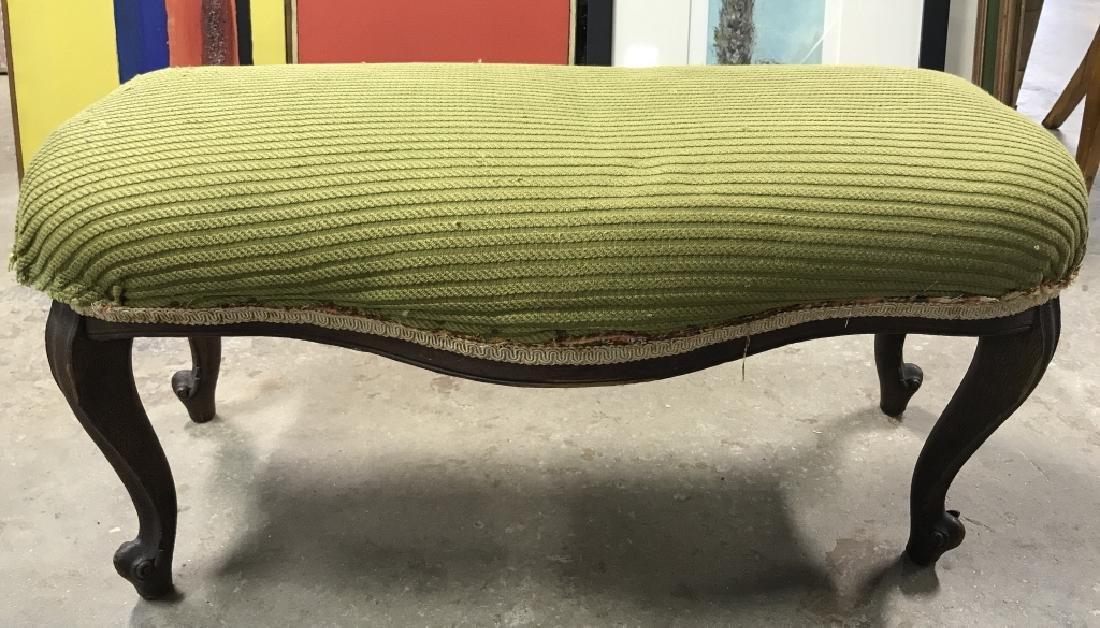 Vintage Carved Wooden Upholstered Footrest