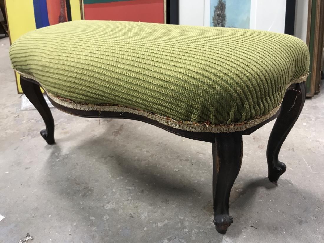 Vintage Carved Wooden Upholstered Footrest - 3