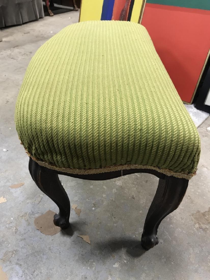 Vintage Carved Wooden Upholstered Footrest - 4