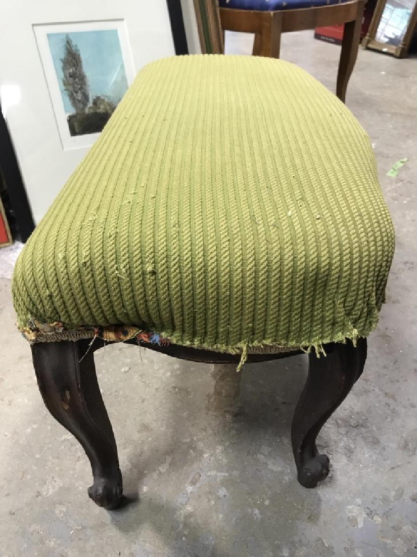Vintage Carved Wooden Upholstered Footrest - 5