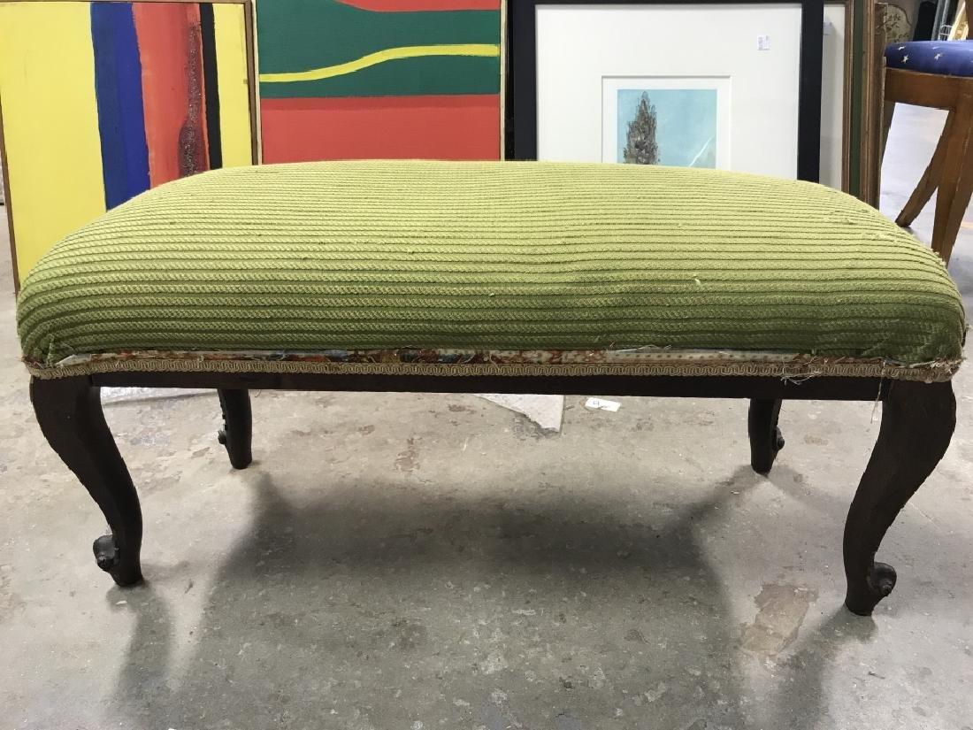 Vintage Carved Wooden Upholstered Footrest - 6